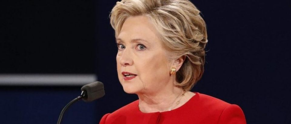 Democratic presidential nominee Hillary Clinton speaks during her first presidential debate against Republican presidential nominee Donald Trump at Hofstra University in Hempstead