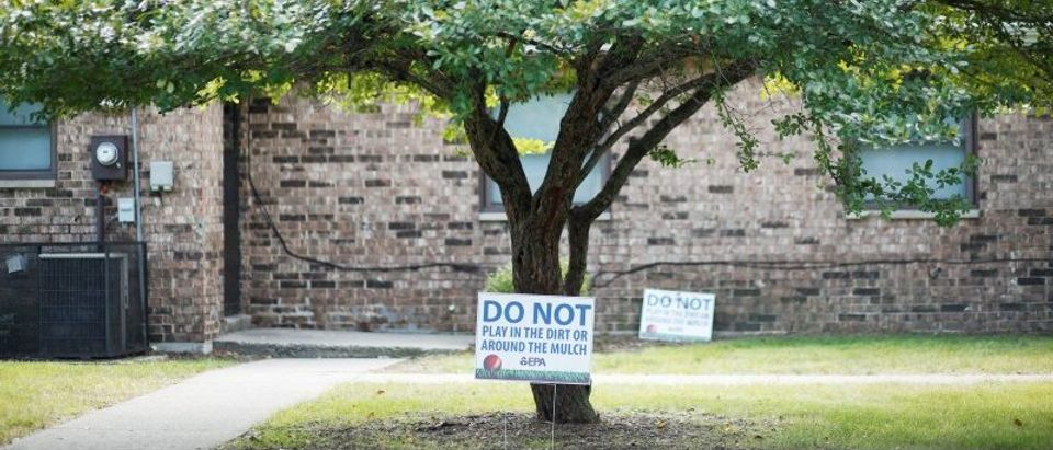 Environmental Protection Agency signs are seen at the West Calumet Complex in East Chicago