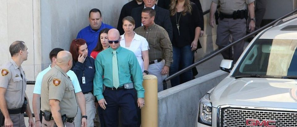 Tulsa police officer Betty Shelby arrives for her arraignment after she was charged with manslaughter in the death of Terence Crutcher, at Tulsa County Courthouse in Tulsa, Oklahoma, U.S. September 30, 2016. REUTERS/Richard Rowe