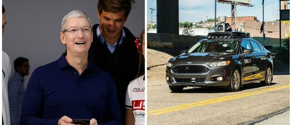 Apple CEO Tim Cook looking happily at a self-driving car. Left: [STEPHEN LAM/Getty Images] Right: [ANGELO MERENDINO/AFP/Getty Images]