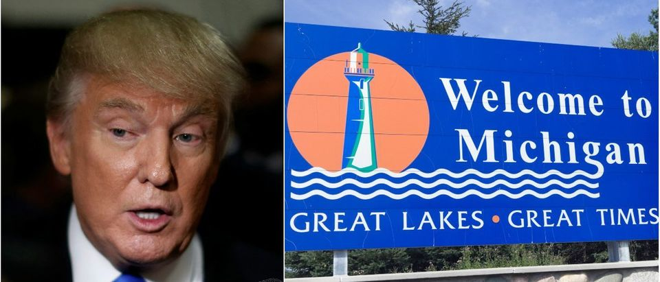 Donald Trump: Jonathan Ernst/Reuters.com, Welcome to Michigan: Henryk Sadura/shutterstock.com