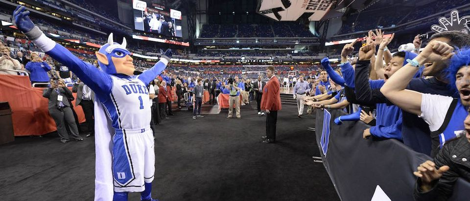 Duke Blue Devils mascot with fans prior to facing the Michigan State Spartans in the 2015 NCAA Men's Division I Championship semi-final game at Lucas Oil Stadium