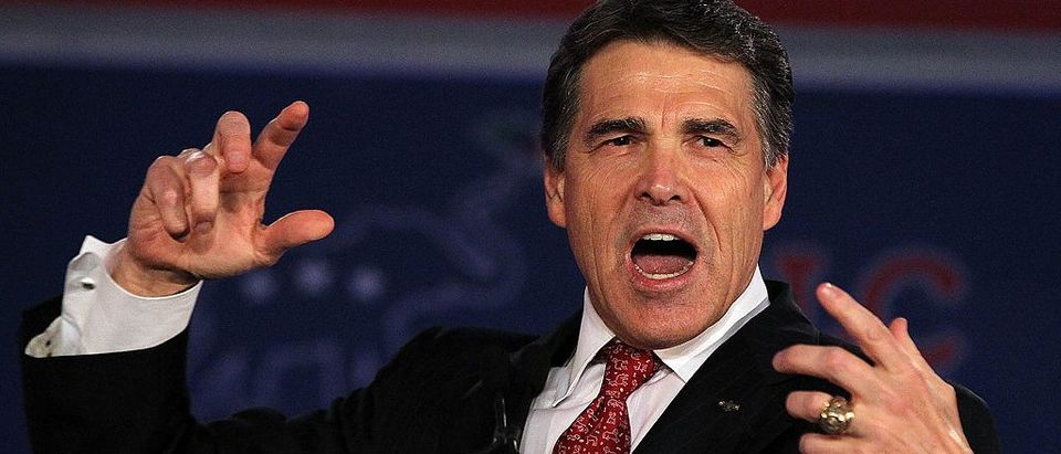FILE -- Texas Gov. Rick Perry speaks during the 2011 Republican Leadership Conference on June 18, 2011 in New Orleans, Louisiana