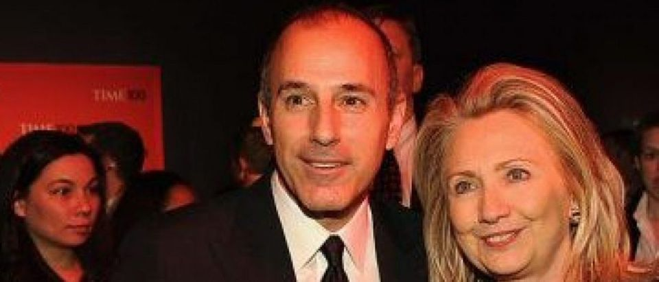 Matt Lauer, Secretary of State Hillary Rodham Clinton Brian Williams and attend the TIME 100 Gala, TIME'S 100 Most Influential People In The World, cocktail party at Jazz at Lincoln Center on April 24, 2012 in New York City