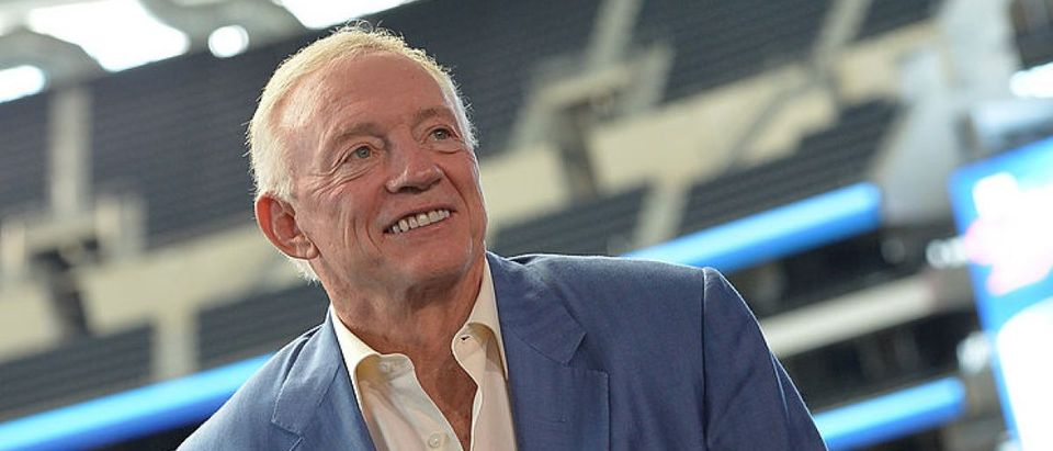 Dallas Cowboys owner Jerry Jones addresses the press conference for the 2014 The Cowboy Rides Away tour at Dallas Cowboys Stadium on September 9, 2013 in Arlington, Texas. (Photo by Rick Diamond/Getty Images for Essential Broadcast Media)
