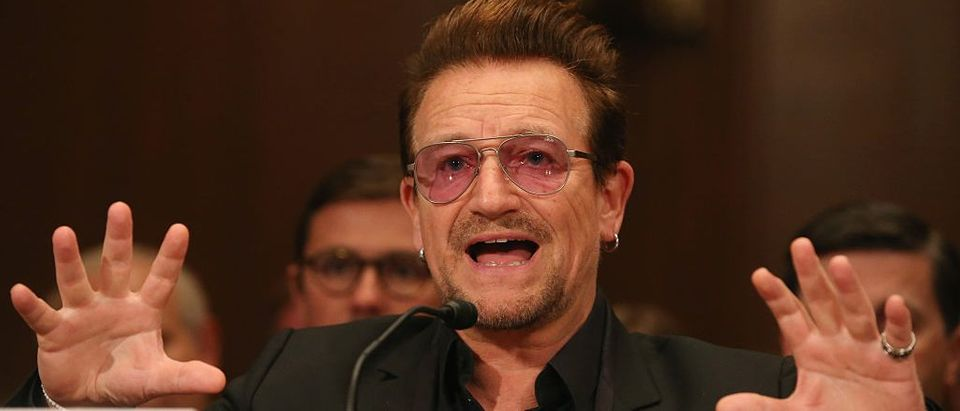 Bono, lead singer of the rock band U2 and co-founder of ONE, a non-profit, non-partisan advocacy organization, testifies during a Senate Appropriations Subcommittee hearing on Capitol Hill, April 12, 2016 in Washington, D.C.