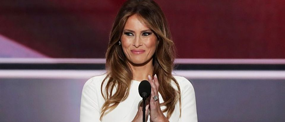 Melania Trump, wife of Republican presidential nominee Donald Trump, delivers a speech on the first day of the Republican National Convention on July 18, 2016 at the Quicken Loans Arena in Cleveland, Ohio