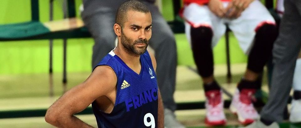 France point guard Tony Parker looks on during a men's quarterfinal basketball match between Spain and France at the Carioca Arena 1 in Rio de Janeiro on August 17, 2016 during the Rio 2016 Olympic Games