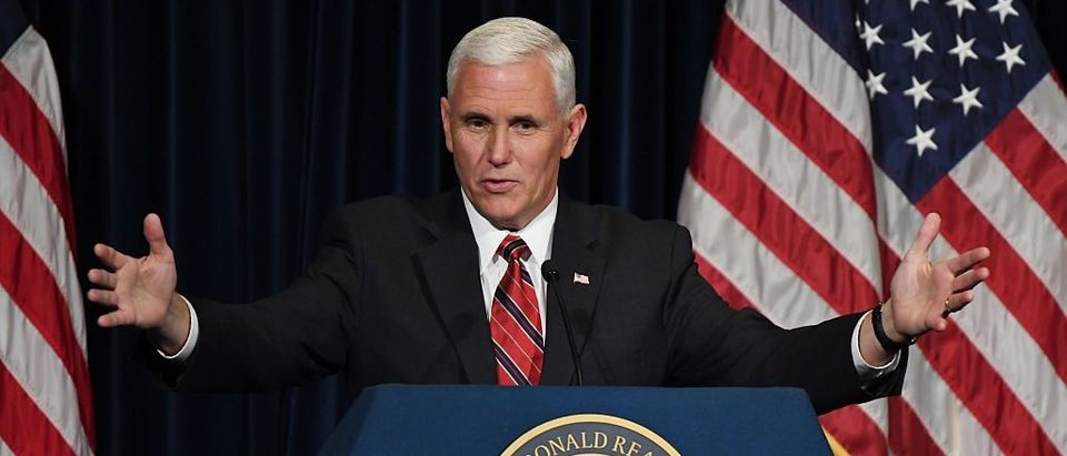 Mike Pence speaks to Republicans at the Ronald Reagan Presidential Library in Simi Valley, California on September 8, 2016 (Getty Images)