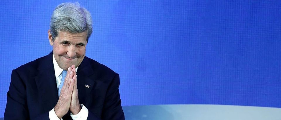 John Kerry delivers opening remarks at the Our Oceans conference at the State Department's Harry S. Truman building (Getty Images)