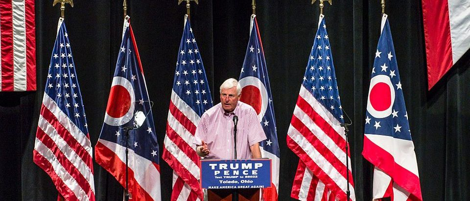 Coach Knight speaks at a Trump event. (Photo by Angelo Merendino/Getty Images)