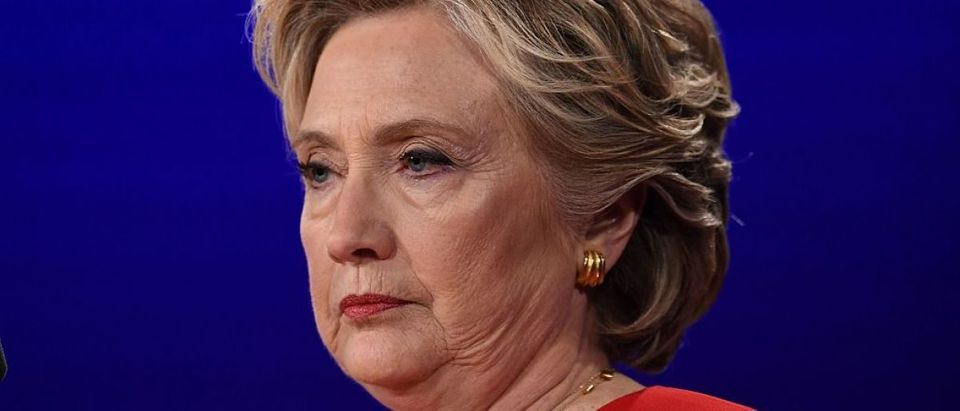 Democratic nominee Hillary Clinton looks on during the first presidential debate at Hofstra University in Hempstead, New York on September 26, 2016