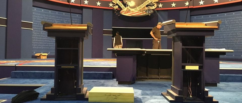 Two presidential debate podiums at Hofstra University in Hempstead, NY. Podium on the right has plywood in it to heighten it, likely for Secretary Clinton. Photo: Rita Cosby/WABC Radio