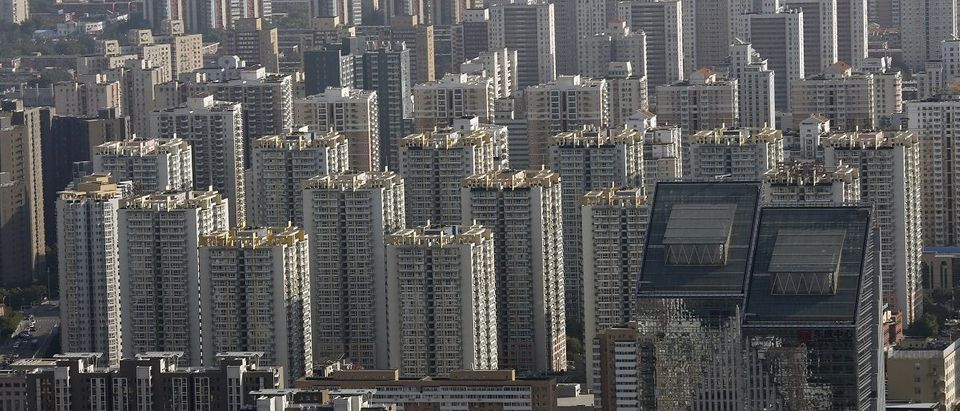 Commercial buildings and apartments are seen in central Beijing