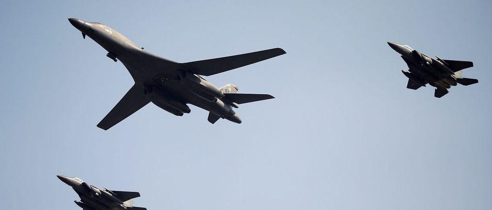 A U.S. Air Force B-1B bomber flies over Osan Air Base in Pyeongtaek