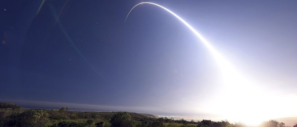 A Minuteman III intercontinental ballistic missile (ICBM) test launch at Vandenberg Air Force Base, California at 11:01 p.m. On February 25, 2016. REUTERS/Kyla Gifford/U.S. Air Force Photo/Handout via Reuters