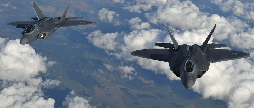 U.S. F-22 Raptor fighters fly over European airspace