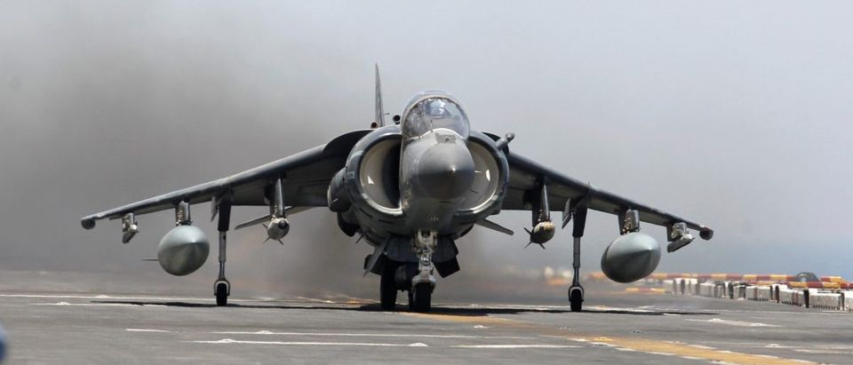 AV-8B Harrier II from the 13th Marine Expeditionary Unit launches from the USS Boxer (LHD 4) during its first day of striking ISIS held positions in Iraq from the Arabia Gulf