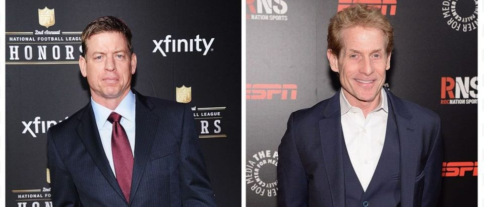 Troy Aikman, Skip Bayless (Credit: Getty Images)
