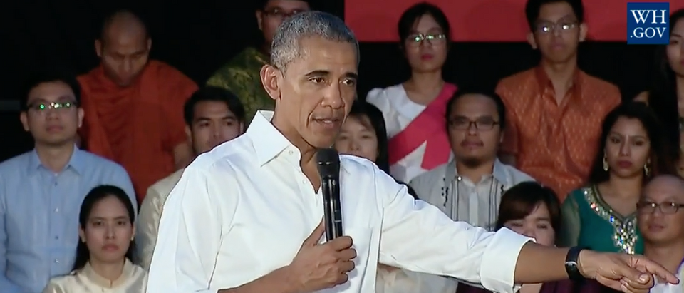 President Obama speaks to audience in Laos, Sept. 7, 2016. (Youtube screen grab)
