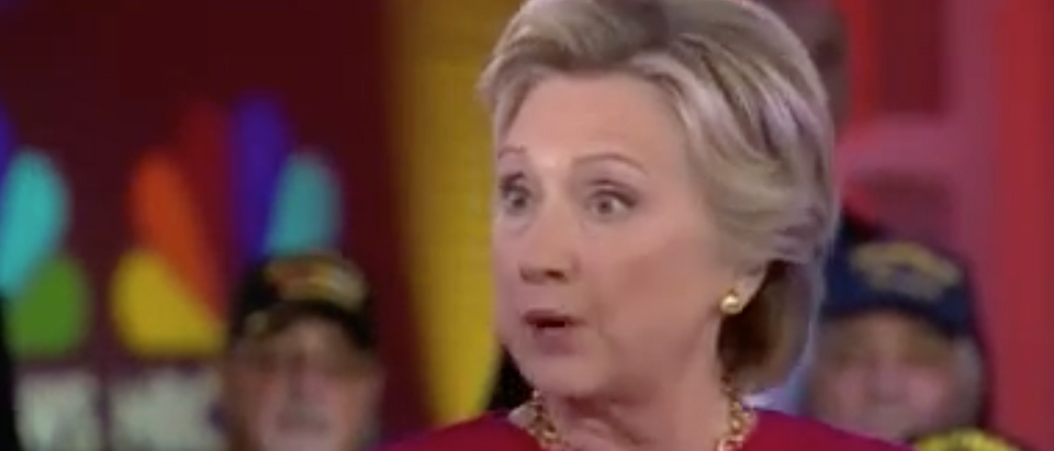 Hillary Clinton speaks at NBC's Commander In Chief forum. Sept. 7, 2016. (Youtube screen grab)