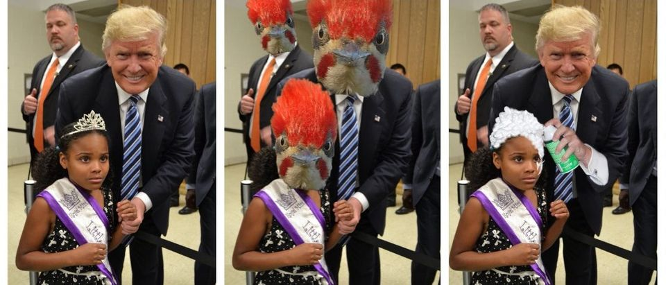 """Donald Trump takes photo with """"Little Miss Flint"""" (Reddit)"""