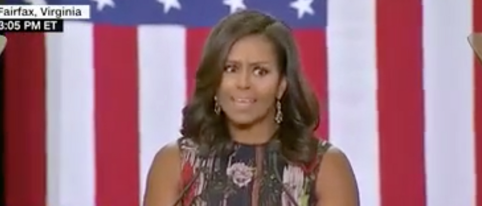 Michelle Obama introduces Hillary Clinton. Sept. 16, 2016. (Youtube screen grab)