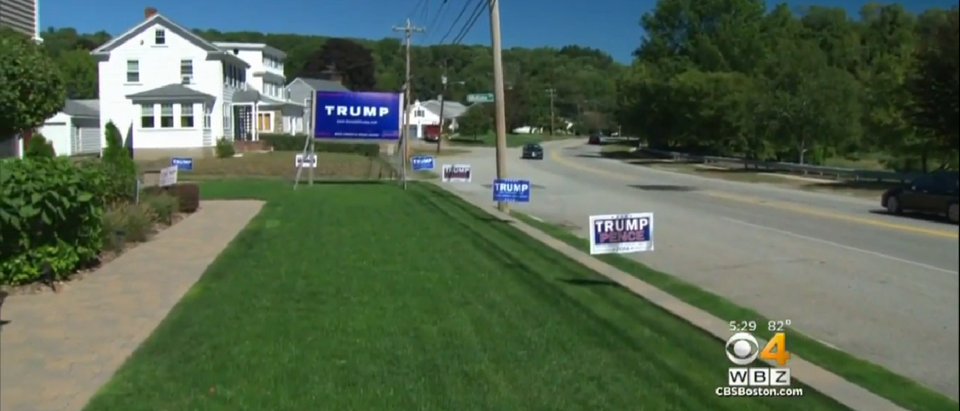 Ricky Early and his Trump signs were enough to get fined almost $300 a day (Screen Shot/Boston Herald)