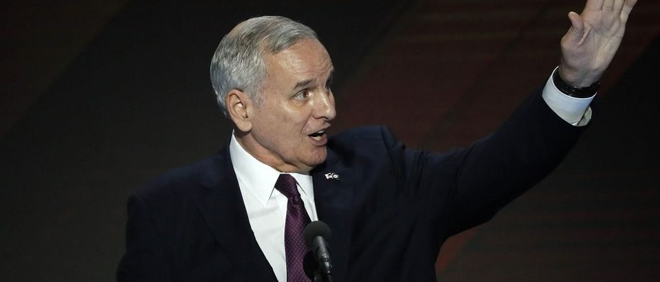 Minnesota Governor Mark Dayton speaks on the final night of the Democratic National Convention in Philadelphia