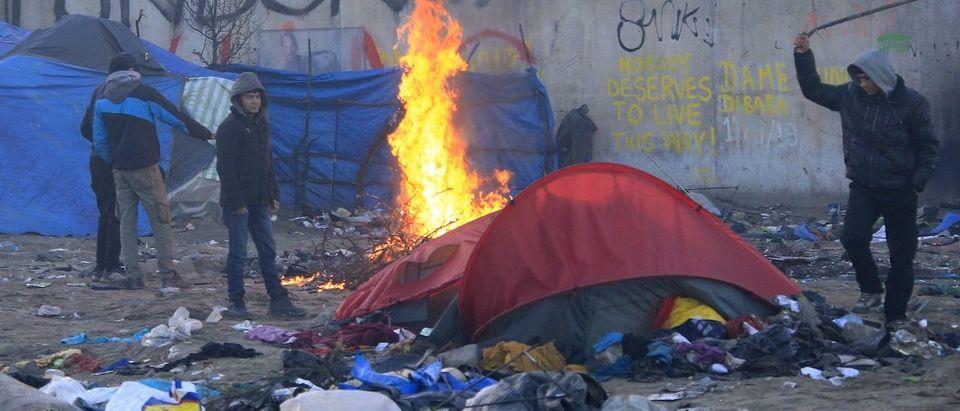 "A fire in the Calais ""Jungle"""