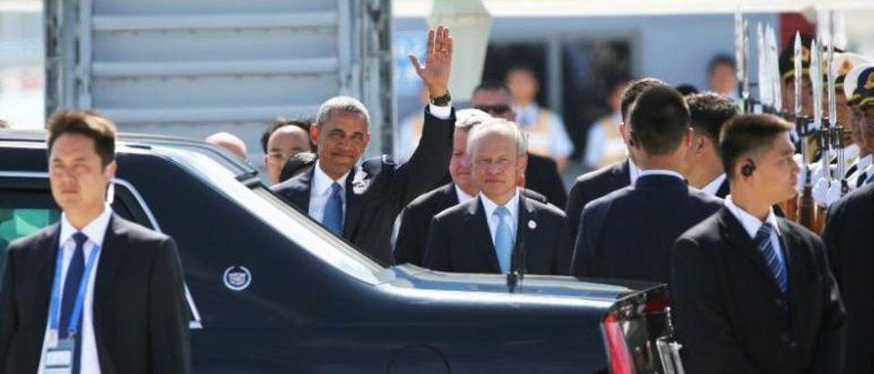 U.S. President Barack Obama arrives for the G20 Summit in Hangzhou