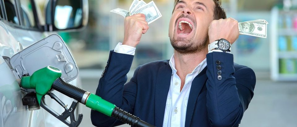 Emotional businessman counting money with gasoline refueling car at fuel station (Shutterstock/VGstockstudio)