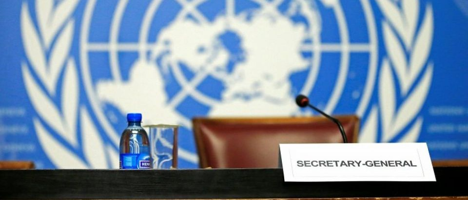 U.N. Secretary-General Ban Ki-moon empty desk is seen before his speech to the press conference at the United Nations European headquarters in Geneva