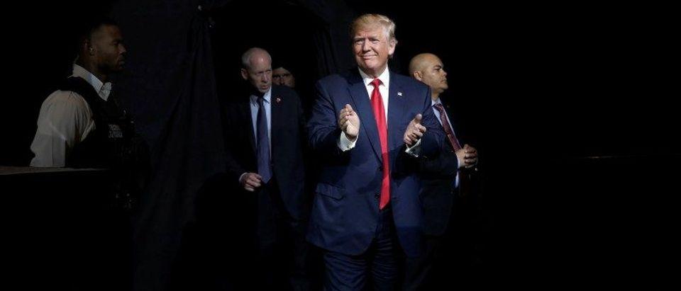 U.S. Republican presidential nominee Donald Trump arrives at a campaign rally in Pueblo