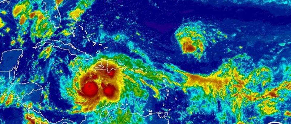 Hurricane Matthew is seen in an infrared image from NOAA's GOES-East satellite