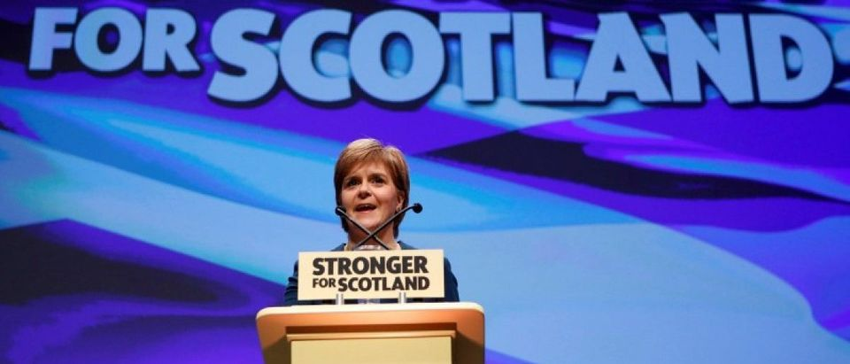 Scotland's First Minister and leader of the Scottish National Party speaks at the party's annual conference in Glasgow