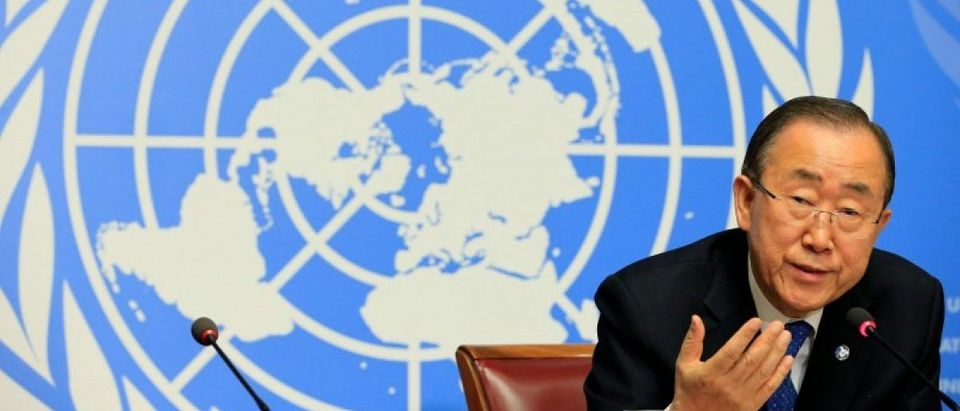 U.N. Secretary-General Ban Ki-moon speaks to the press at the United Nations European headquarters in Geneva