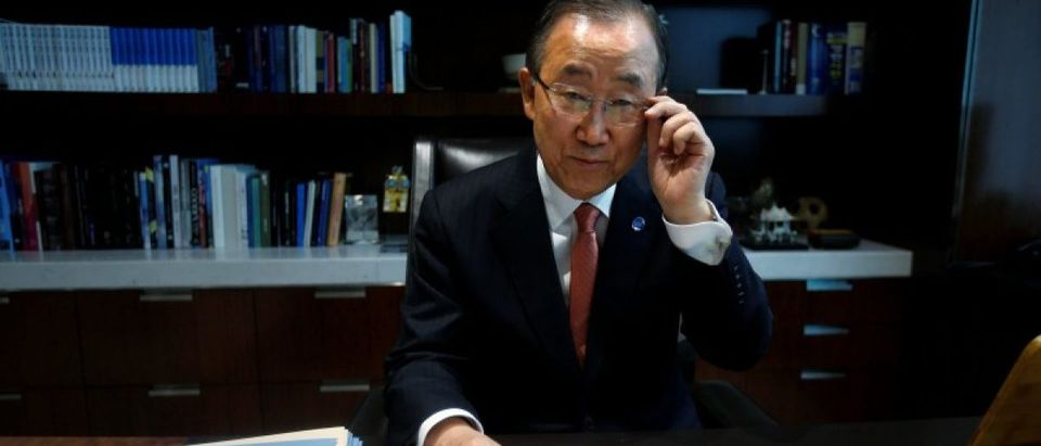 United Nations Secretary General Ban Ki-moon sits at his desk as he poses for a portrait in his office at United Nations Headquarters in the Manhattan borough of New York