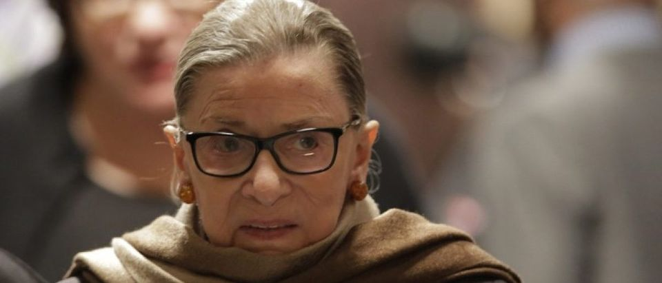 File photo of U.S. Supreme Court Associate Justice Ruth Bader Ginsburg arriving to watch U.S. President Barack Obama's State of the Union address to a joint session of Congress in Washington