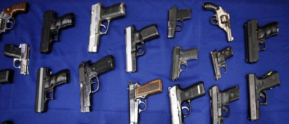 Seized handguns are pictured at the police headquarters in New York City