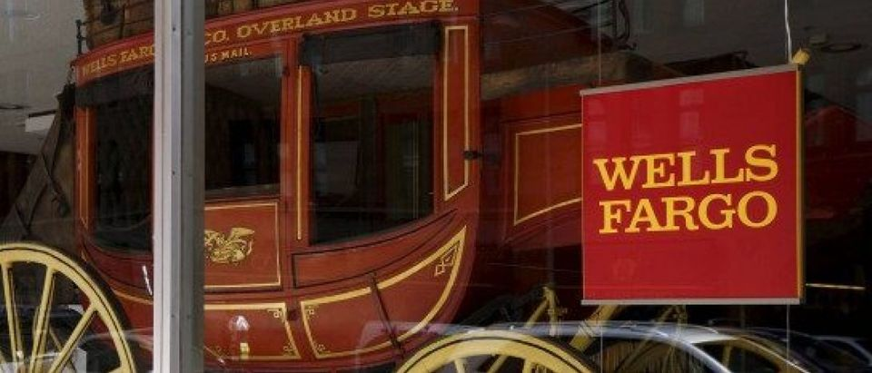An 1860's era stagecoach is displayed at the Wells Fargo & Co. bank in downtown Denver
