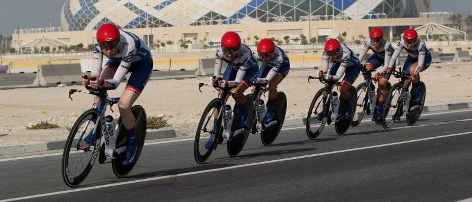 Cyclists from Cervelo Bigla Pro Cycling Team compete in Women's Team Time Trial in the UCI Road World Championships 2016, in Doha