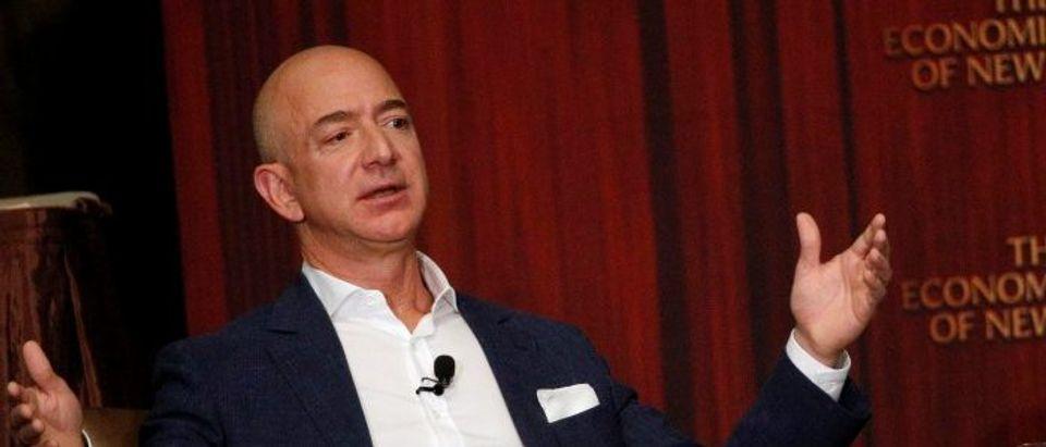 Amazon CEO Jeff Bezos addresses the Economic Club of New York in New York