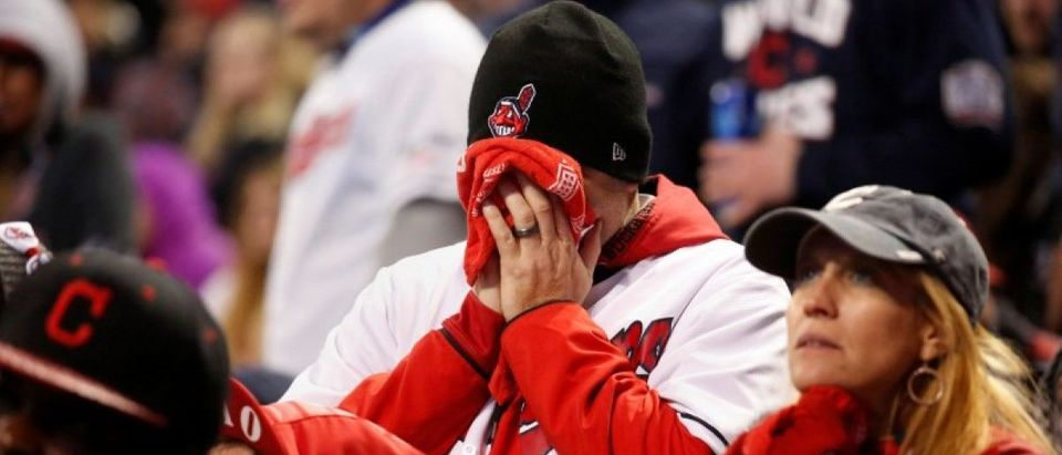 Fans of the Major League Baseball team Cleveland Indians react during their World Series game against the Chicago Cubs during a watch party inside Progressive Field in Cleveland, Ohio U.S., October 30, 2016. REUTERS/Shannon Stapleton