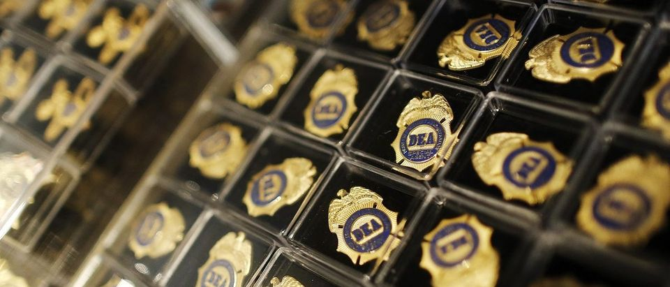 Miniature DEA badges are displayed for sale in the gift shop at the U.S. Drug Enforcement Administration (DEA) Museum in Arlington, Virginia