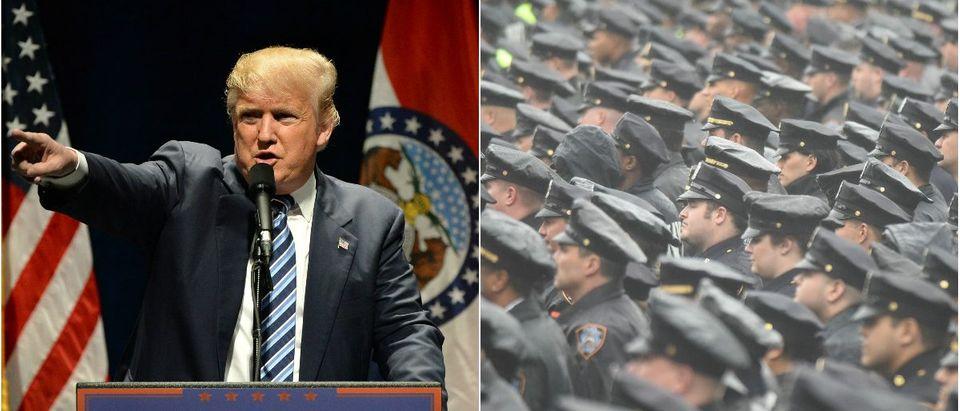 Donald Trump: Gino Santa Maria/shutterstock.com, Police Officers: a katz/shutterstock.com