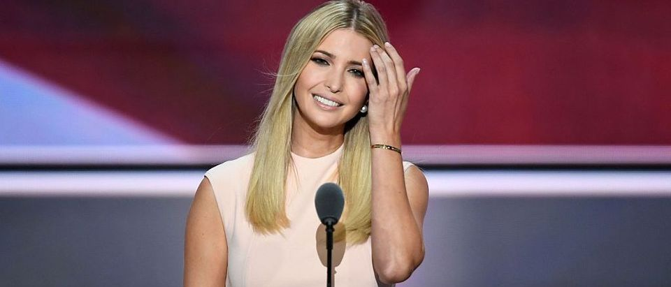 Ivanka Trump, the daughter of Republican presidential candidate Donald Trump, smiles before delivering a speech on the final night of the Republican National Convention at the Quicken Loans Arena in Cleveland, Ohio on July 21, 2016