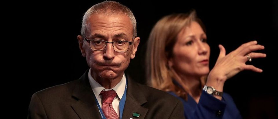 John Podesta looks on prior to the start of the Presidential Debate at Hofstra University on September 26, 2016 in Hempstead, New York. (Getty Images)