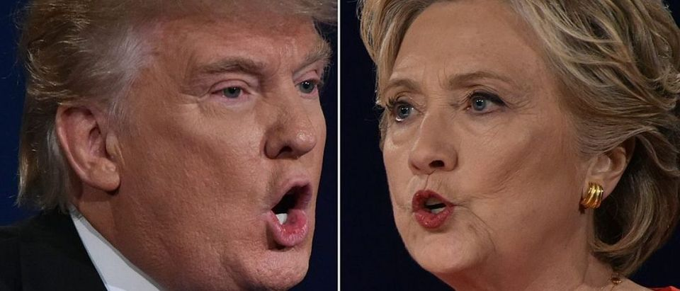 In this Combination of pictures taken on September 26, 2016, Republican nominee Donald Trump and Democratic nominee Hillary Clinton face off during the first presidential debate at Hofstra University in Hempstead, New York. / AFP / Paul J. Richards (Photo credit should read PAUL J. RICHARDS/AFP/Getty Images)