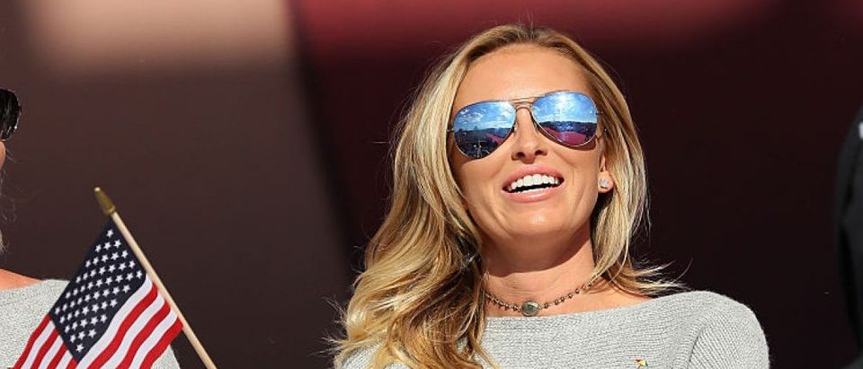 Paulina Gretzky waves a flag during the 2016 Ryder Cup Opening Ceremony at Hazeltine National Golf Club on September 29, 2016 in Chaska, Minnesota